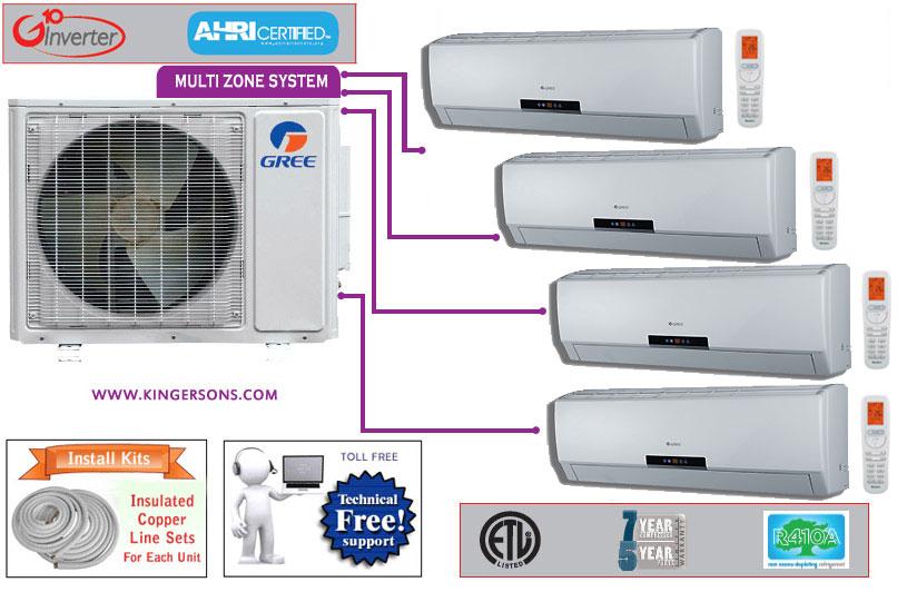 Multi Neo Four Quad Zone Gree Air Conditioner Split System